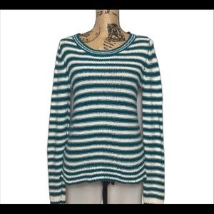 Aeropostale Turquoise and White Striped Sweater M